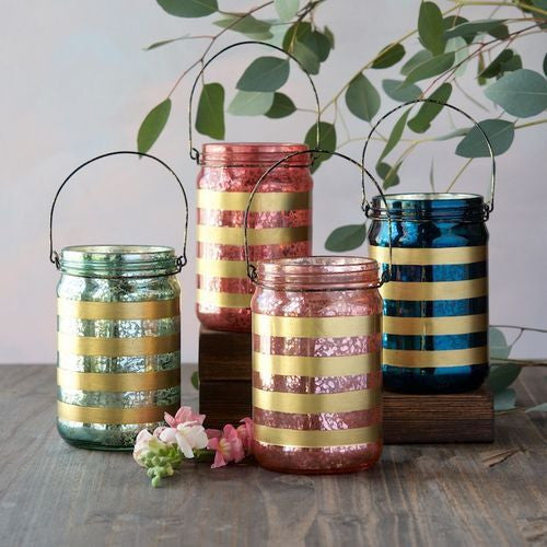 Gold Striped Holiday Picnic Lanterns