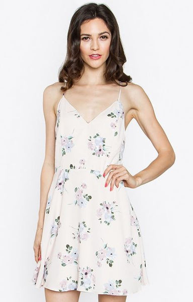 Floral Pale Pink Fit and Flare Mini Dress