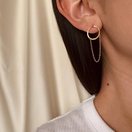 The Lucia Circle Studs with Chains By Points Jewelry