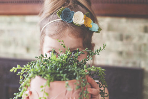 Green and Mustard Felt Floral Crown