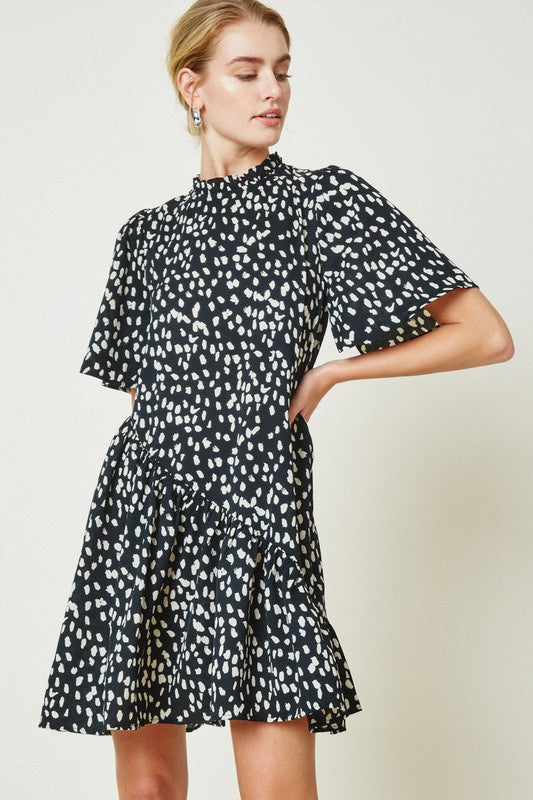 The Amara Dotted Asymmetrical Ruffle Mini Dress