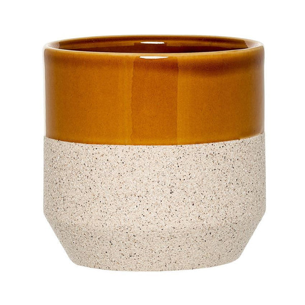 Ceramic Flower Pot in Sand/Curry