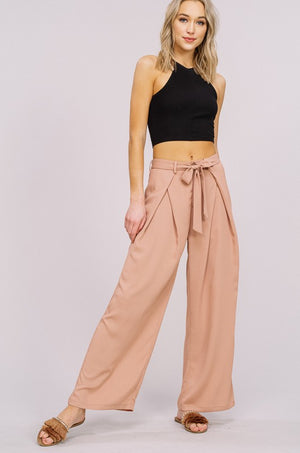 The Autumn Wrap Tie Wide Leg Pants