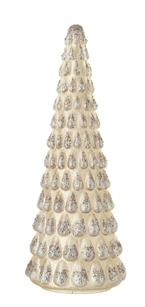 Mercury Glass Silver Glitter Tree