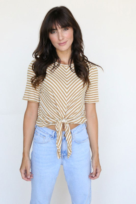 The Andrea Striped Tie Front Top