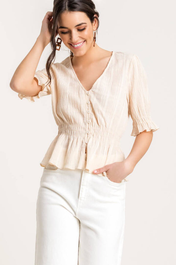 The Lola Cinched Button Up Top