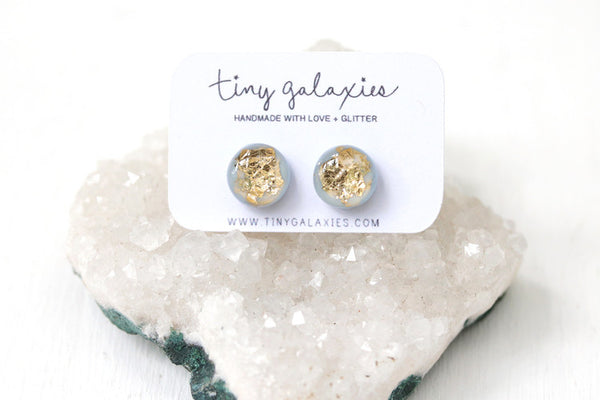 Baby Blue and Gold Leaf Stud Earrings