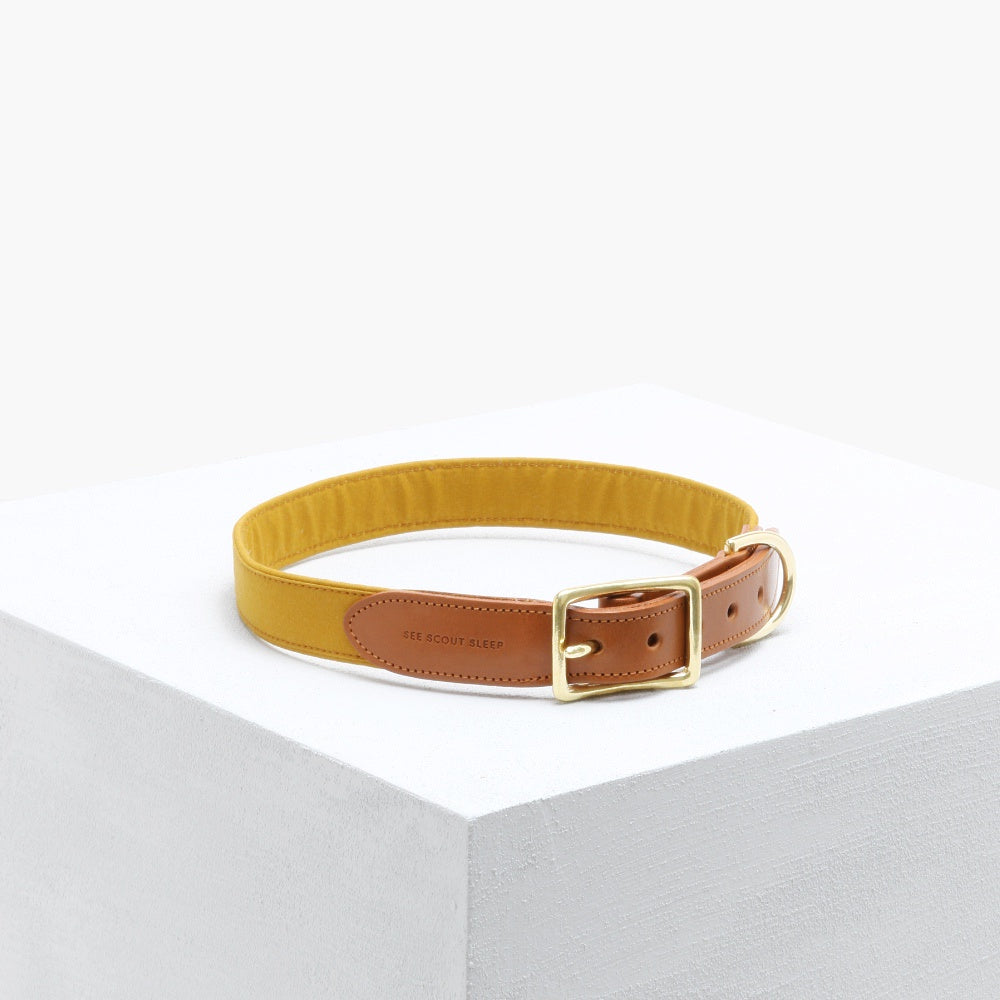 The Scot Mustard Leather Collar by See Scout Sleep