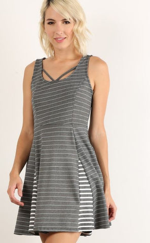 Fit & Flare Striped Panel Dress