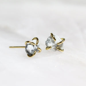 White Howlite Gemstone Prong Stud Earrings by JaxKelly