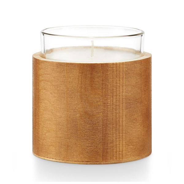 Om Wood Glass Candle
