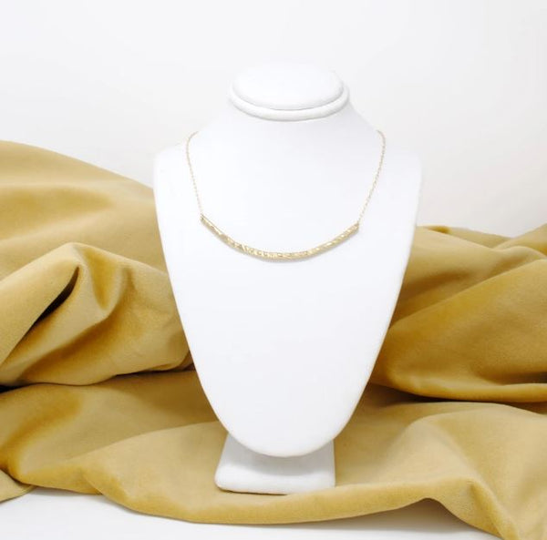 The Textured U Brass Necklace by Daedal Jewelry