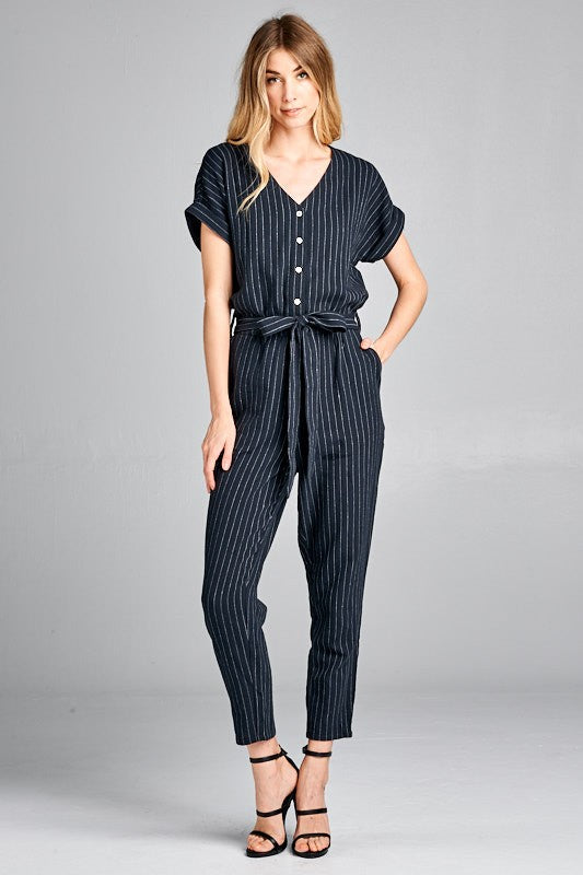 The Dahlia Striped Short Sleeve Button Up Jumpsuit