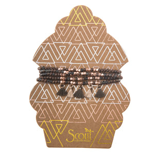 Bronze +  Rose Gold Metallic Tassel Wrap Bracelet/Necklace
