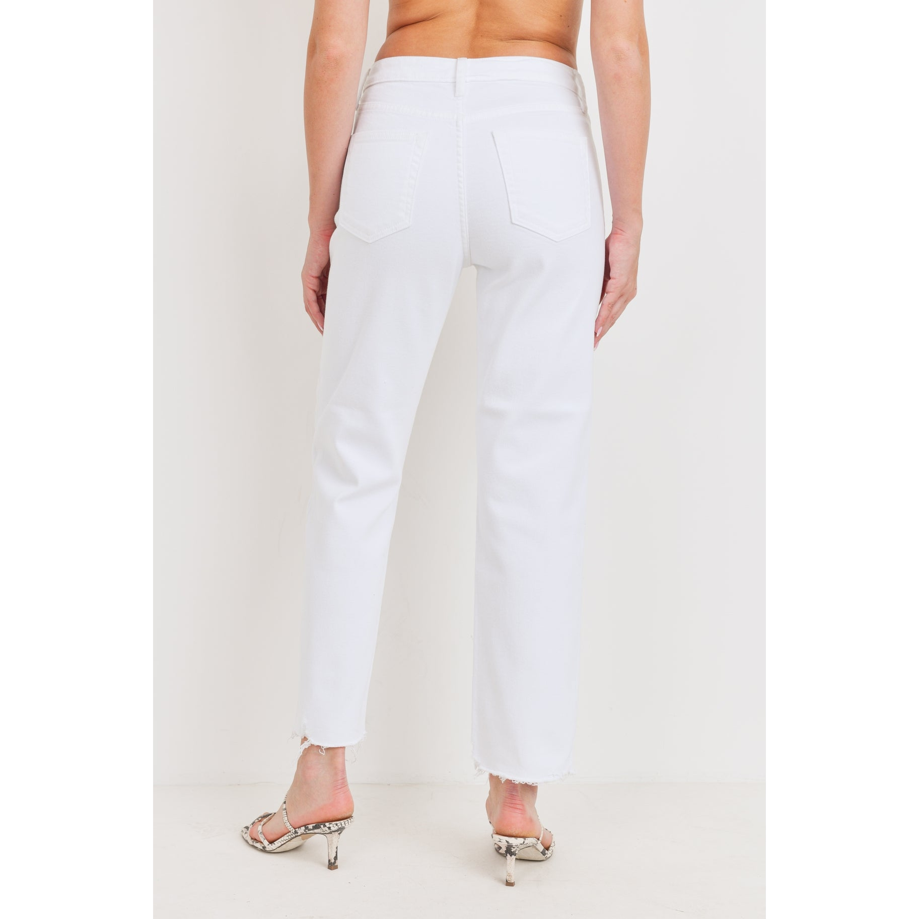 The Hera White High Rise Straight Jeans by Just Black Denim