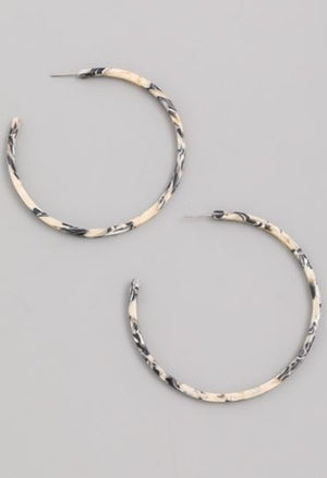 Julissa Black and White Tortoise Hoops