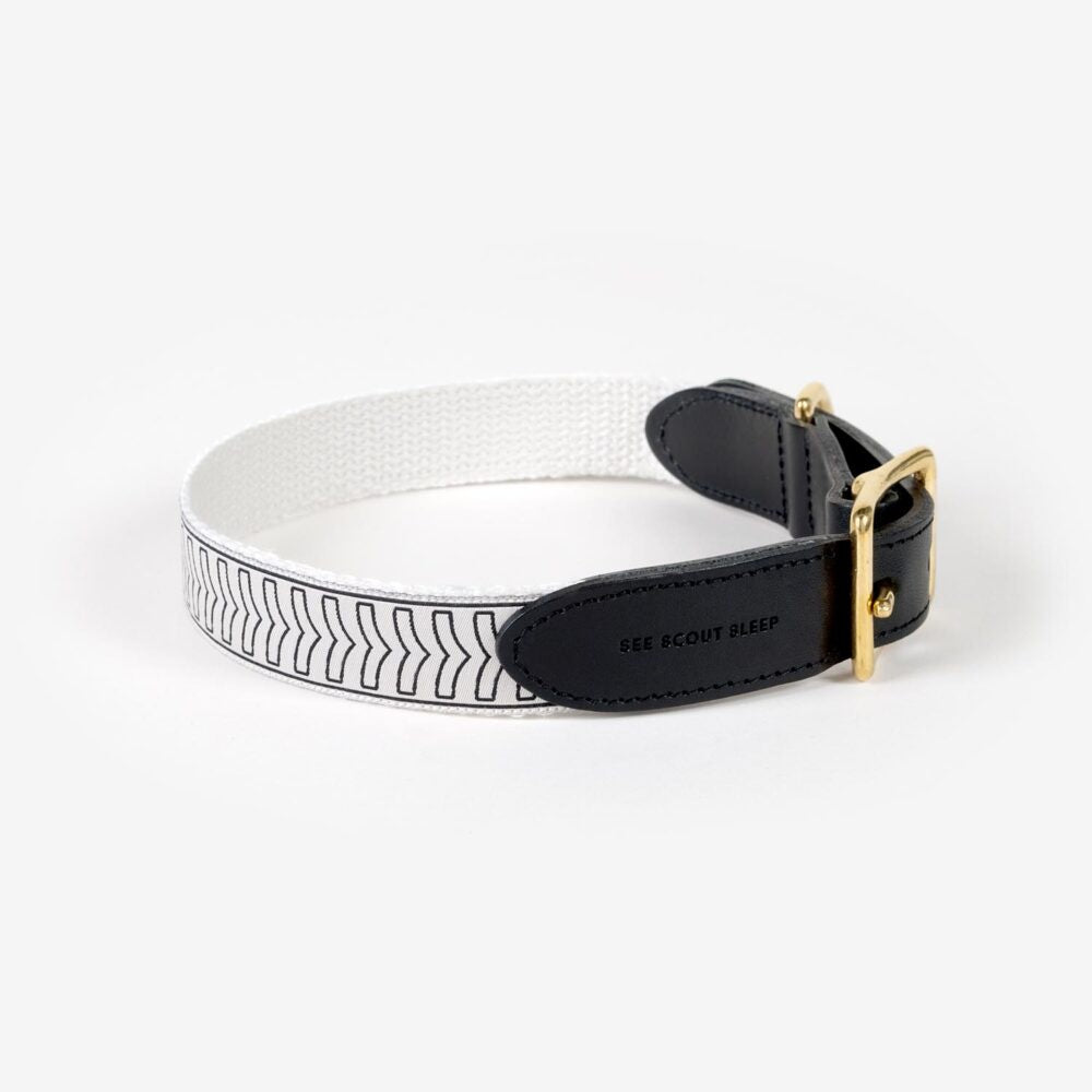 Leather Cream + Black Chef L'Bark Collar by See Scout Sleep