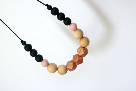 Rose Gold Geometric Teething Necklace with Wood Beads