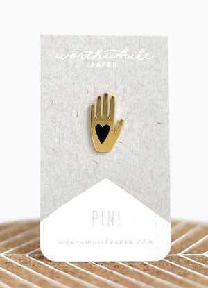 Heart + Hand Enamel Pin