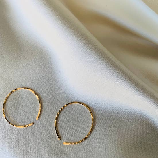The Matriarch Mini Hammered Hoops by Points Jewelry