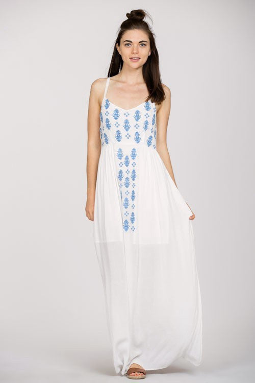 Becca Embroidered Maxi Dress