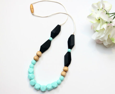Caribbean and Black Geometric Mini Hexi Teething Necklace