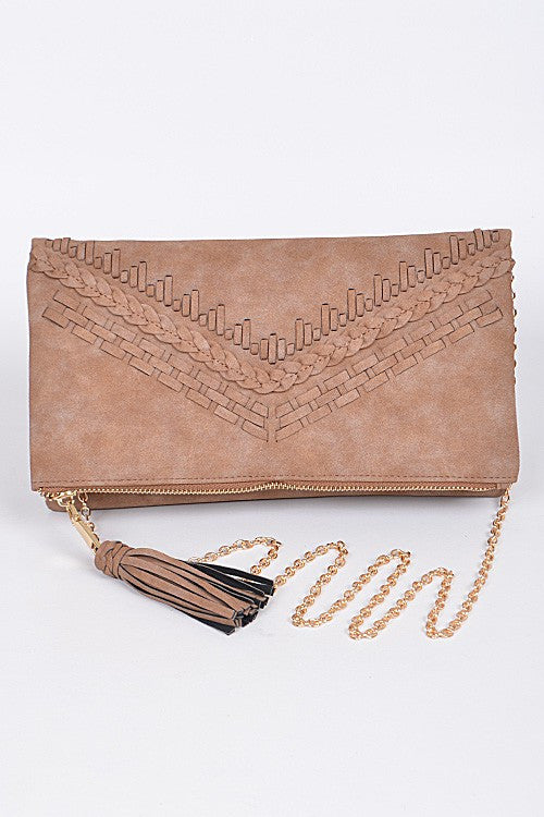 Braided Faux Leather Clutch