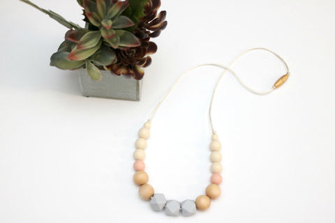 Glacier and Peach Geometric Teething Necklace with Wood Beads
