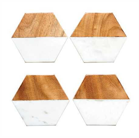 Marble and Mango Wood Hexagon Coasters