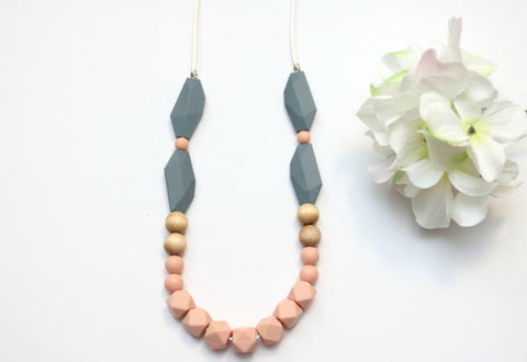 Peach and Gray Geometric Mini Hexi Teething Necklace