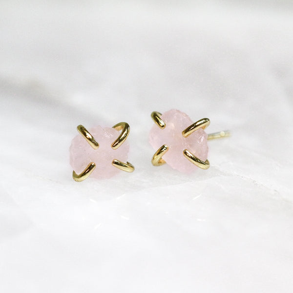 Rose Quartz Prong Earrings by JaxKelly