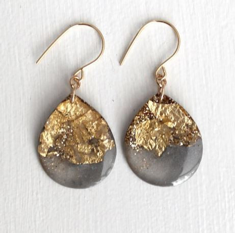 Charcoal and Gold Glitter Drop Earrings