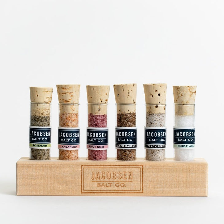 6 Vial Infused Salt with Wooden Stand by Jacobsen Salts
