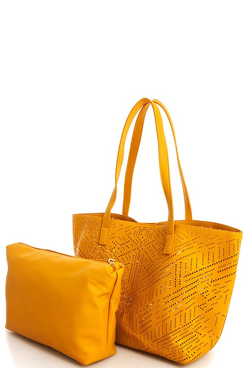 Two Piece Laser Cut Vegan Leather Tote