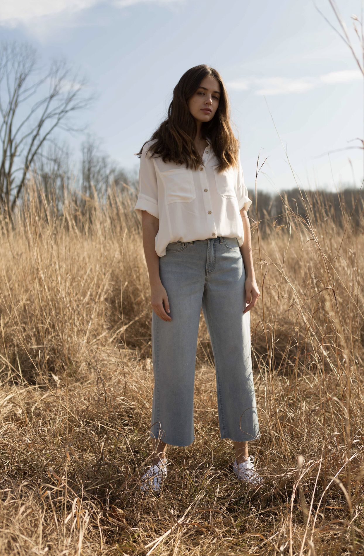 The Shari Cropped Wide Leg Denim by OAT NY - Light Palms