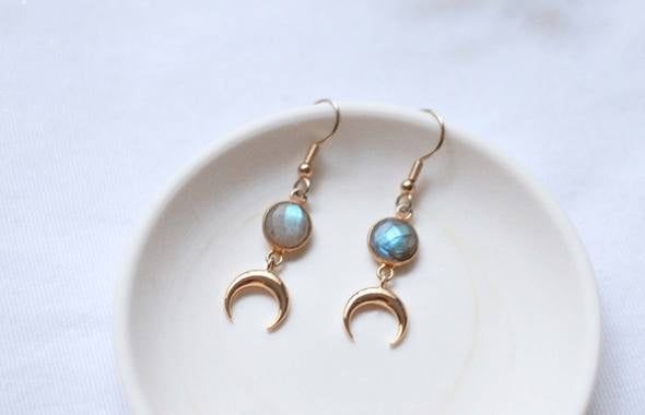 Labradorite Horn Earrings by We Are Andrex