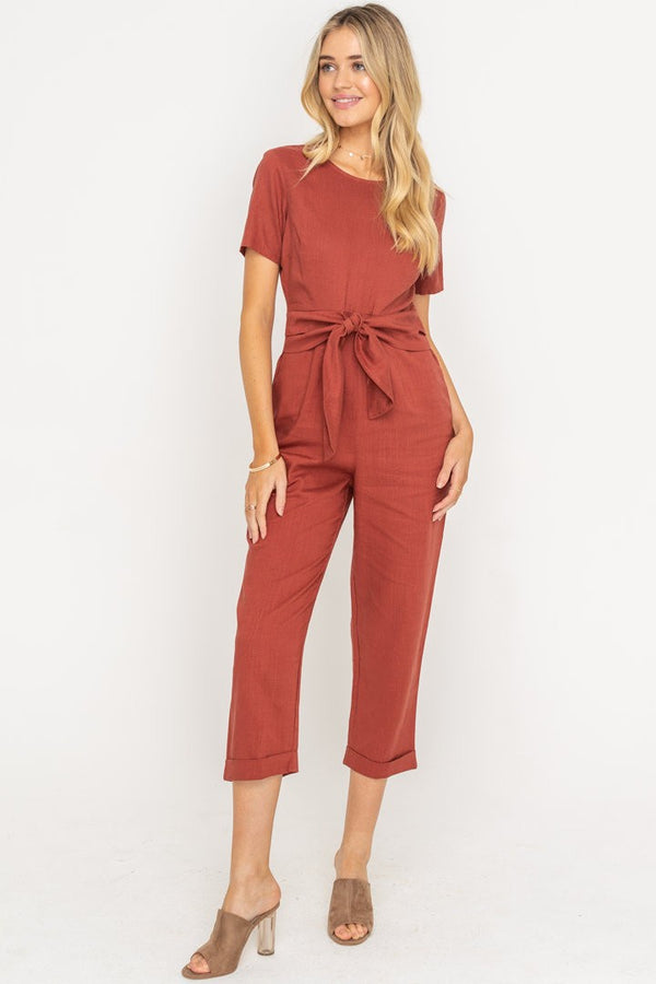 The Gwendolyn Belted Short Sleeve Jumpsuit
