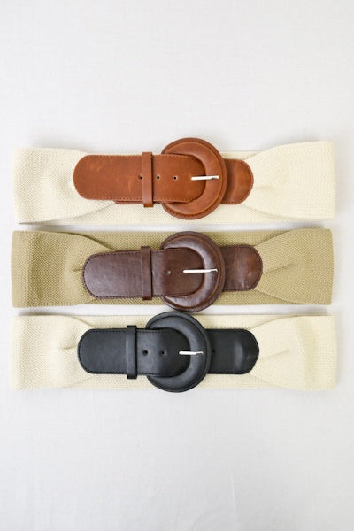 Faux Leather Large Buckle Belt