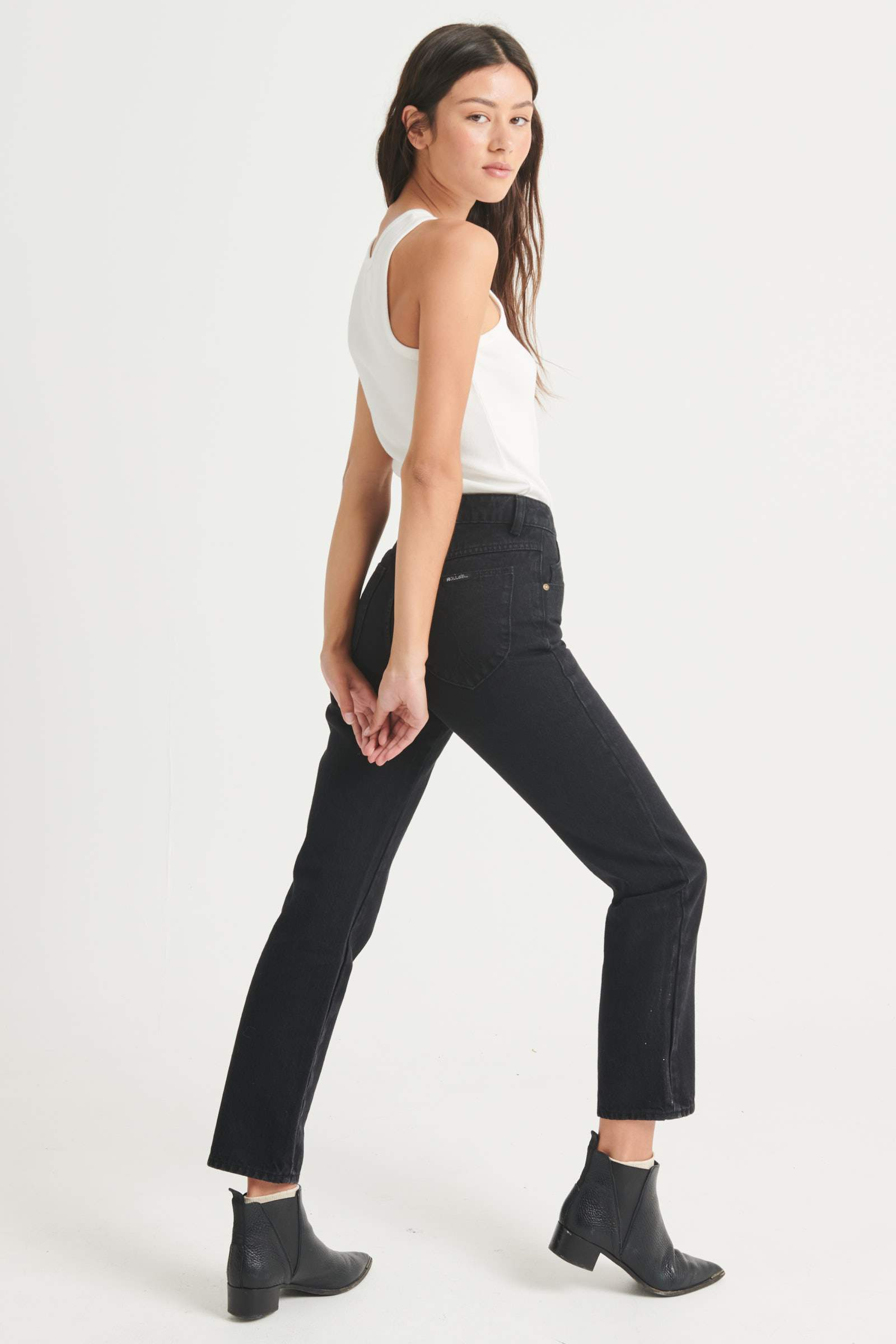 The Original Straight Jeans in Ash Black by Rolla's