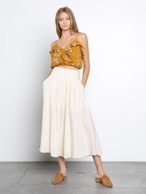 Willow Woven Pleated Midi Skirt