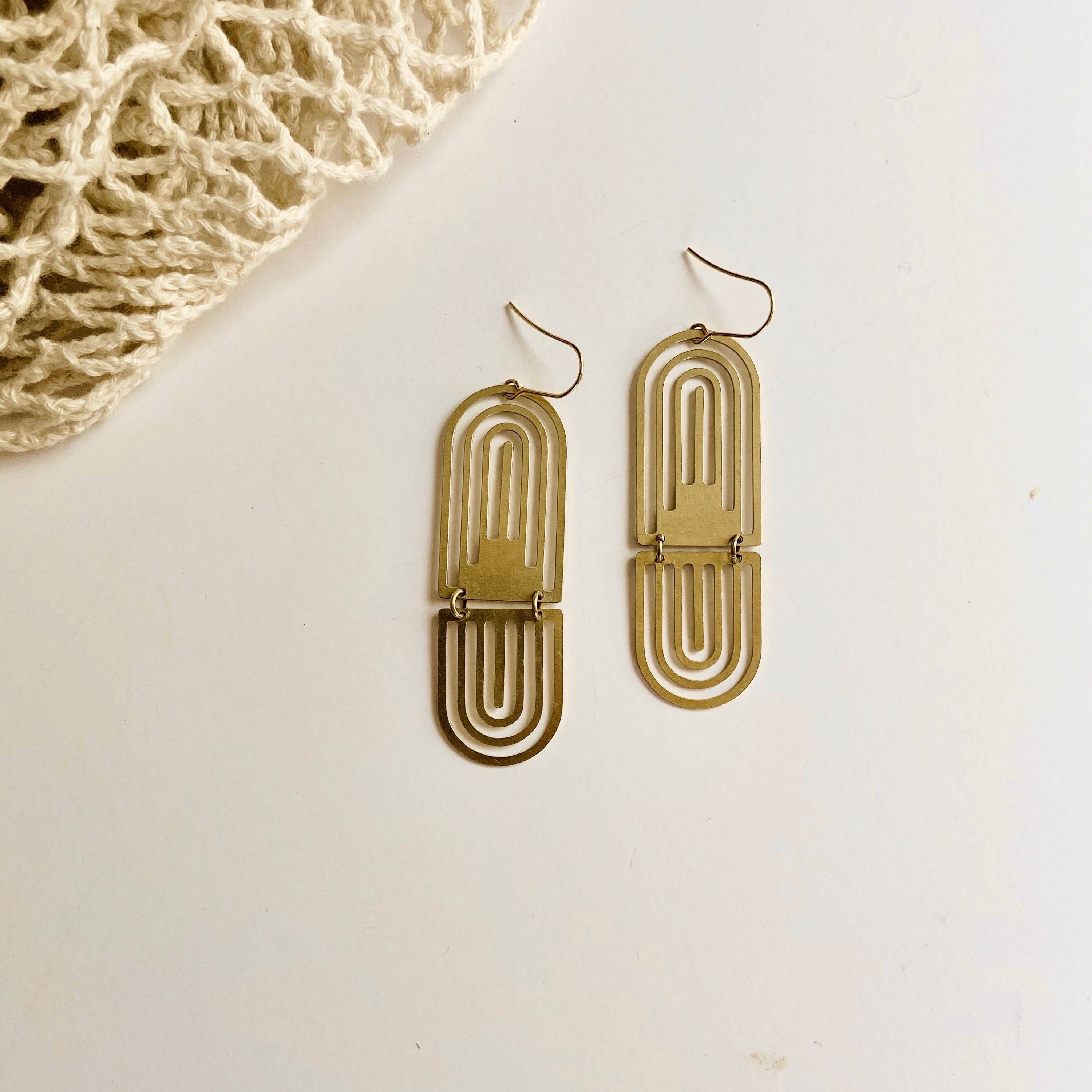 The Alessandra Brass Earrings by Found & Feral