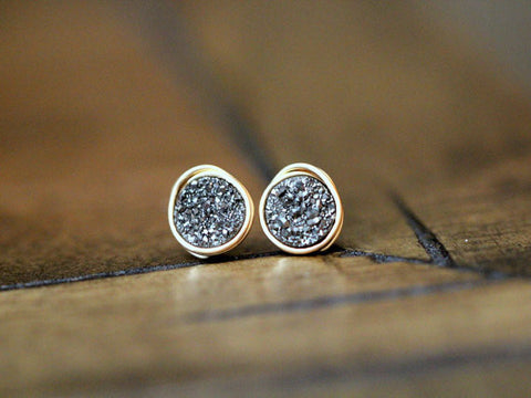 Charcoal Petite Druzy Stud Earrings