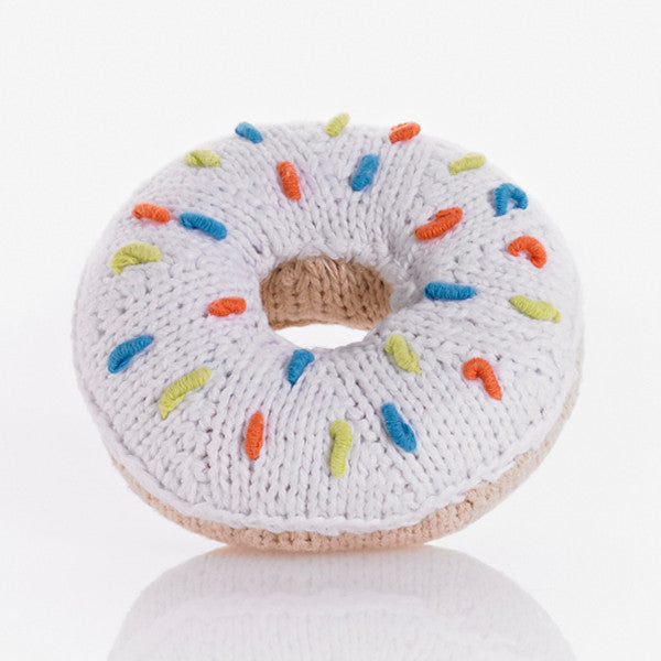 White Knit Donut Rattle