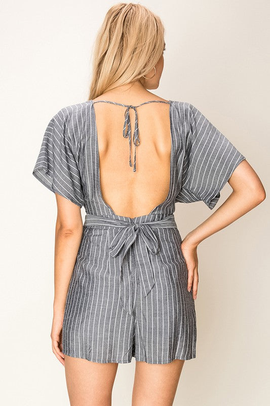 The Marlene Striped Kimono Sleeve Romper