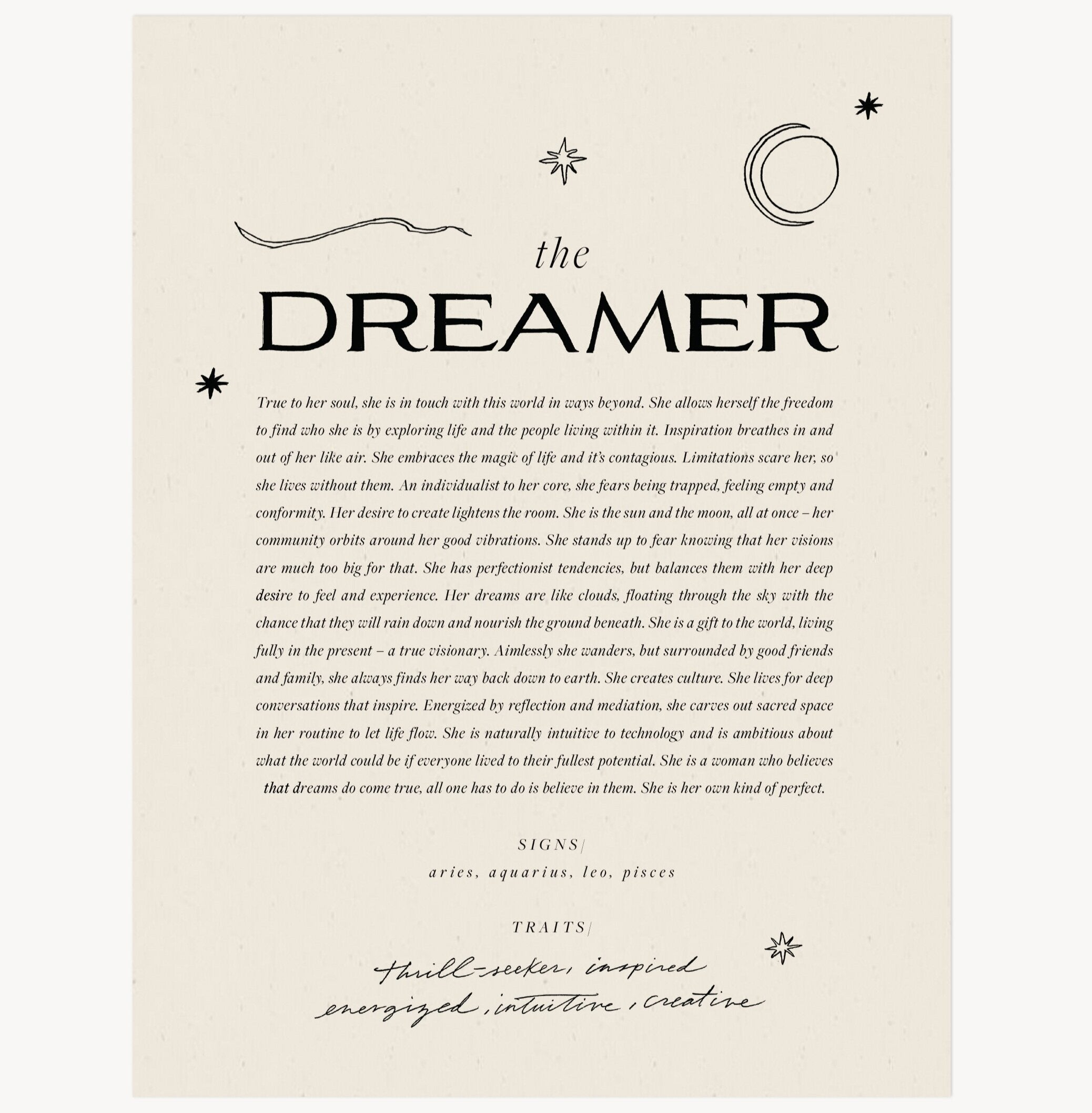 The Dreamer Art Print by Wilde House Paper