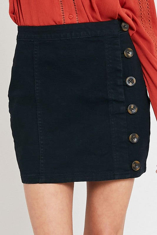 The Trisha Side Button Denim Mini Skirt