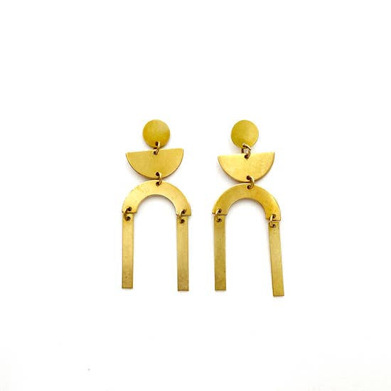 The Grecia Brass Earrings by Found + Feral