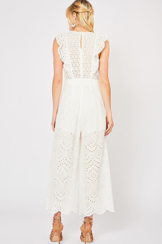 The Lenora Eyelet Lace Ruffle Jumpsuit