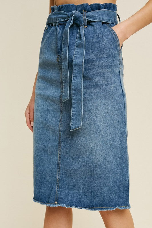 The Shawna Paper Bag Denim Skirt