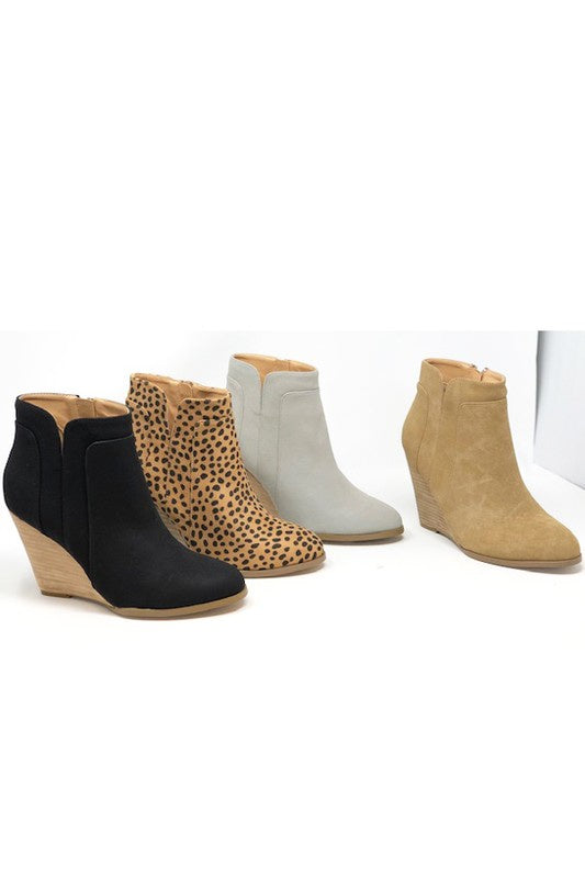 The Mehnah Cheetah Print Wedge Booties